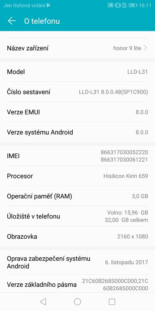 Honor 9 Lite Dual SIM - systém