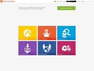 CyberGhost VPN menu