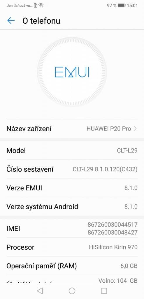 Huawei P20 Pro 6GB/128GB Dual SIM - systém