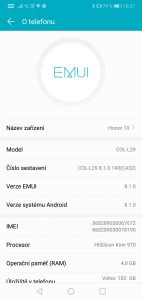 Honor 10 4GB/128GB Dual SIM - systém