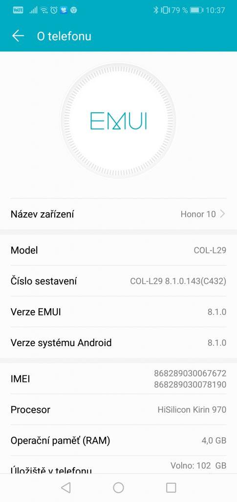 Honor 10 4GB/128GB Dual SIM - systém