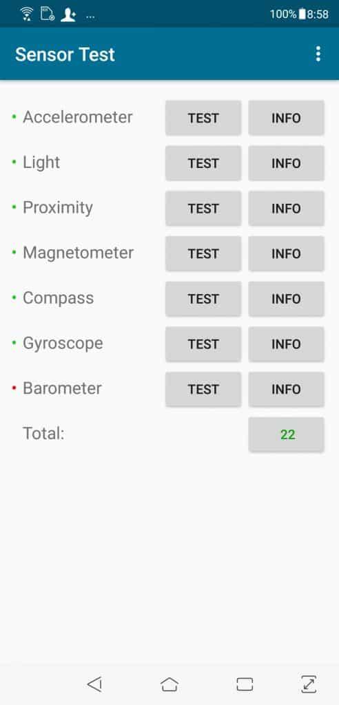 Asus Zenfone 5Z 6GB/64GB - senzory