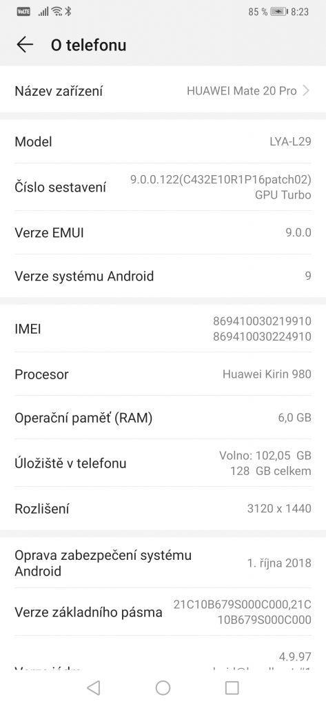 Test Huawei Mate 20 Pro 6GB/128GB - systém