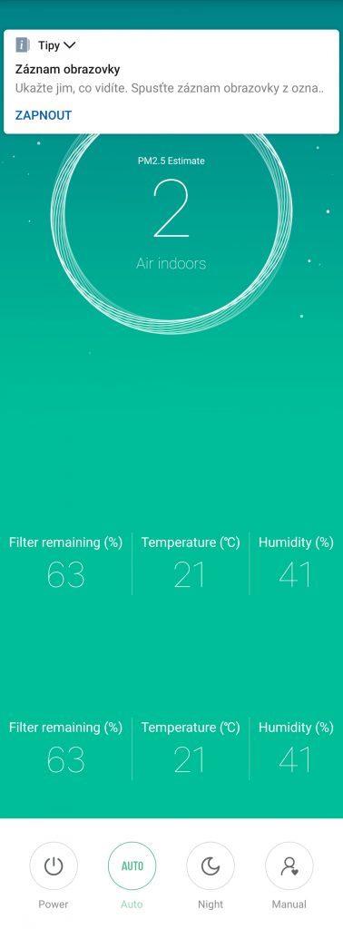 Test Xiaomi Mi Air Purifier 2S - aplikace