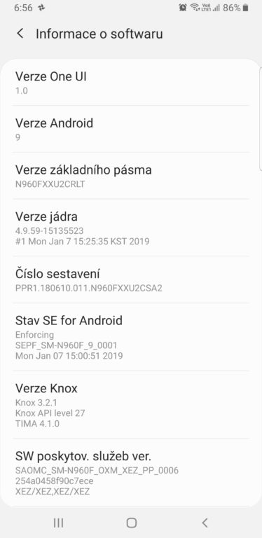 Test Samsung Galaxy Note9 - systém