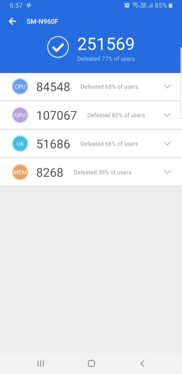 Test a recenze Samsung Galaxy Note9 - AnTuTu test