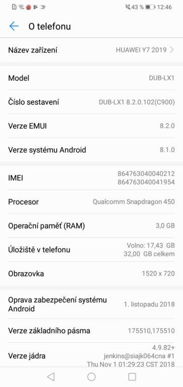 Recenze Huawei Y7 2019 - systém