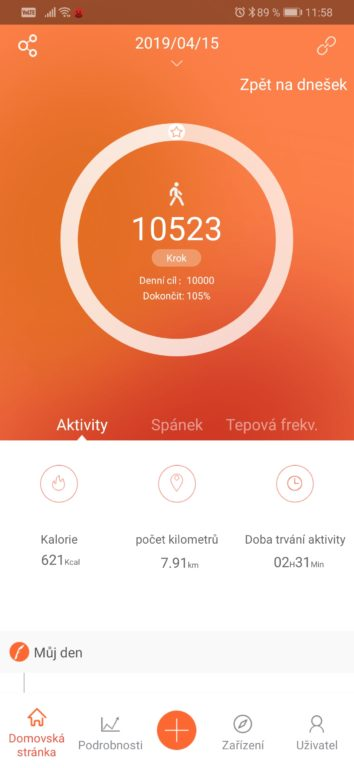 Recenze fitness náramku LAMAX BFit PRO - aplikace