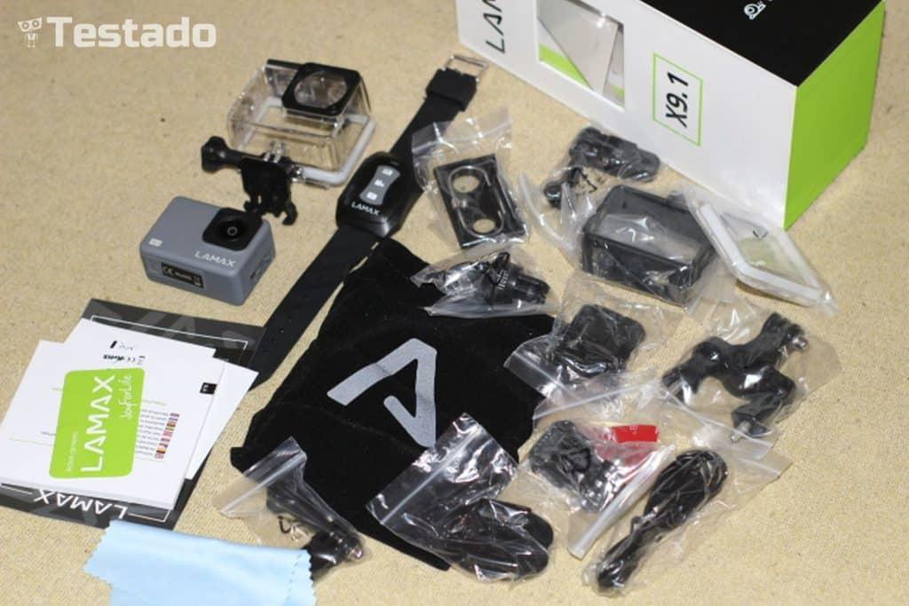 Recenze akční kamery LAMAX X9.1 - obsah balení
