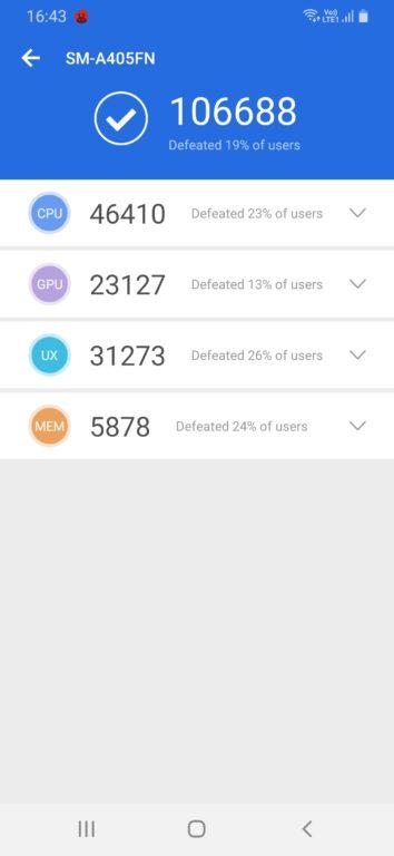 Recenze Samsung Galaxy A40 AnTuTu test HW