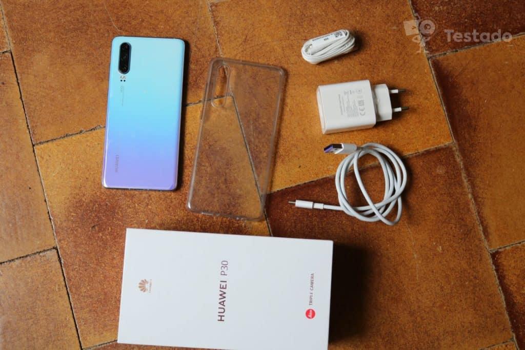 Recenze Huawei P30 obsah balení