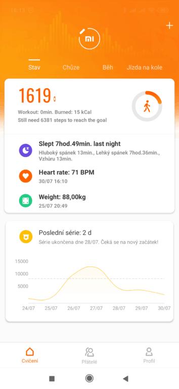 Xiaomi Mi Band 4 aplikace