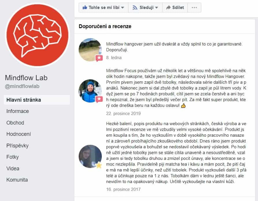 recenze Mindflow na Facebooku