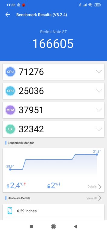 test mobilu Xiaomi Redmi Note 8T AnTuTu žebříček
