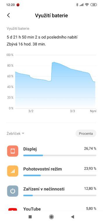 test mobilu Xiaomi Redmi Note 8T systém - baterie