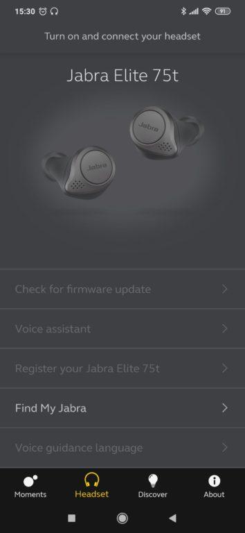 test sluchátek Jabra Elite 75t - mobilní aplikace