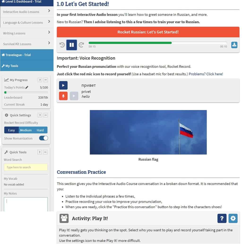 Rocket Russian audio lekce