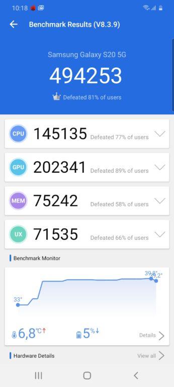 Samsung Galaxy S20 AnTuTu test
