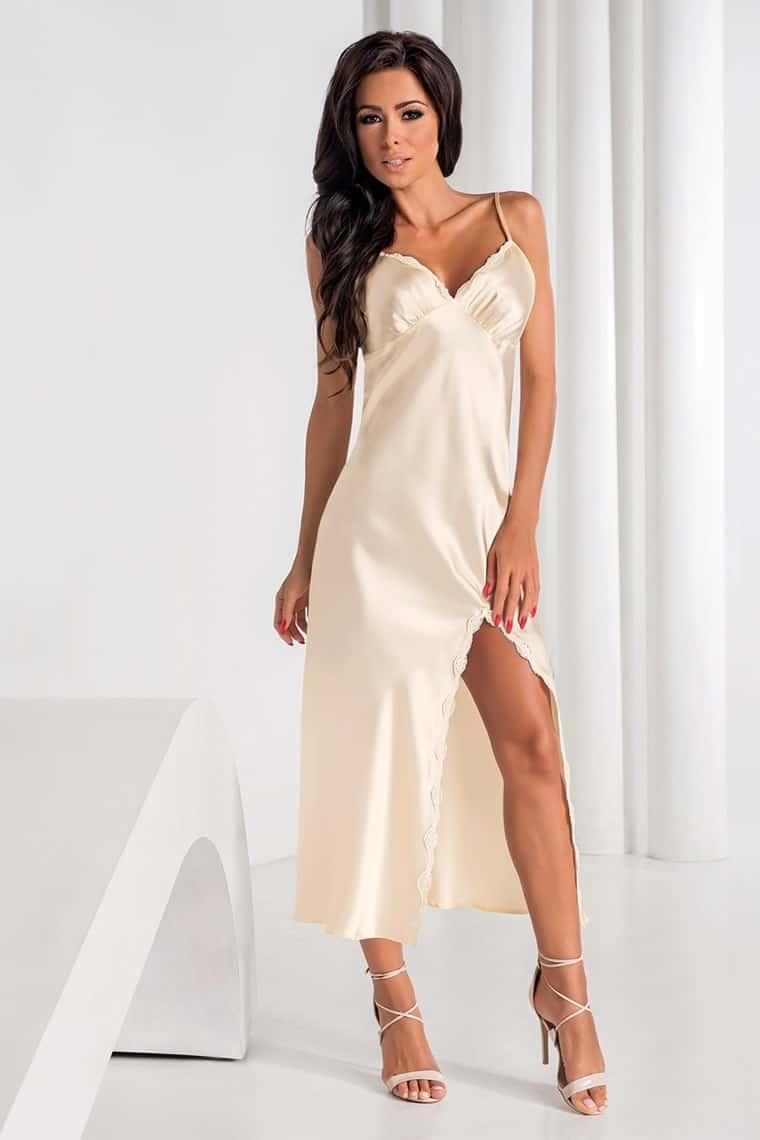 luxusní saténová dlouhá noční košilka Arabella