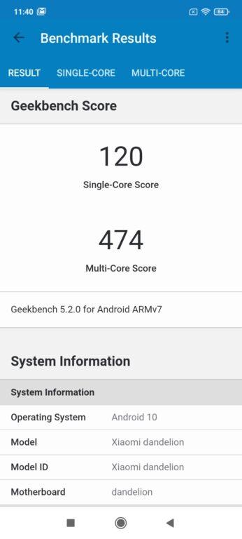 Recenze Xiaomi Redmi 9A - Geekbench