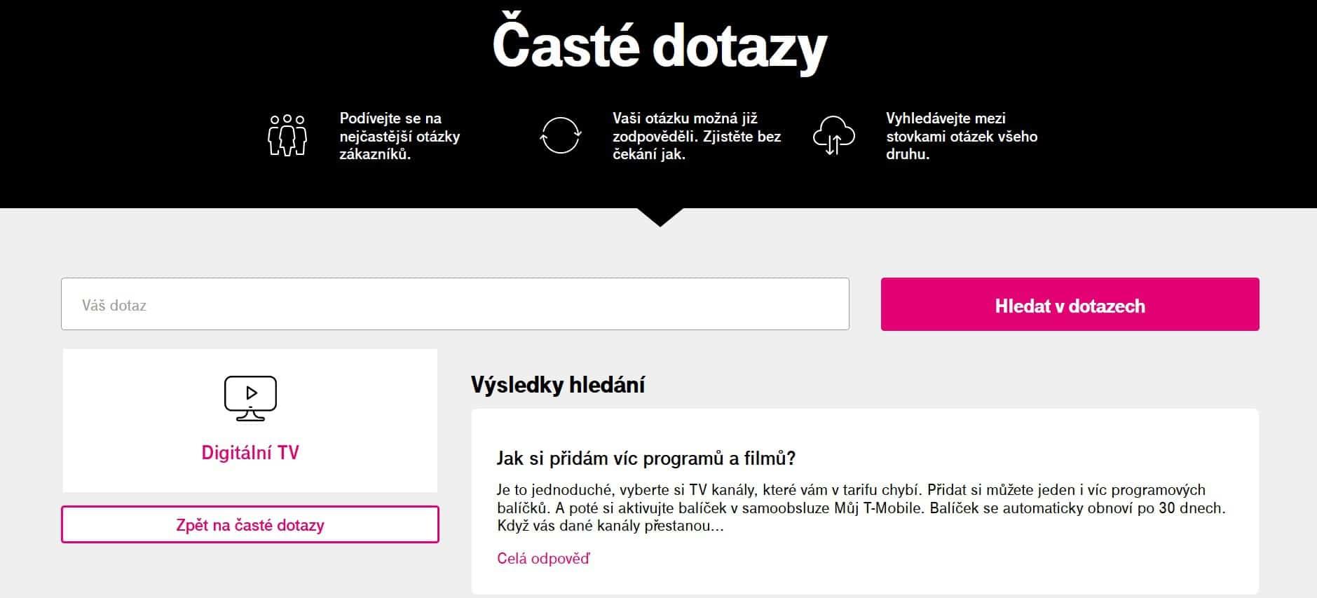 internetová televize T-Mobile TV zákaznická podpora