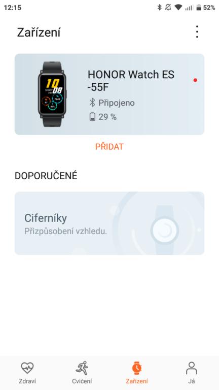 chytré hodinky HONOR Watch ES spárování