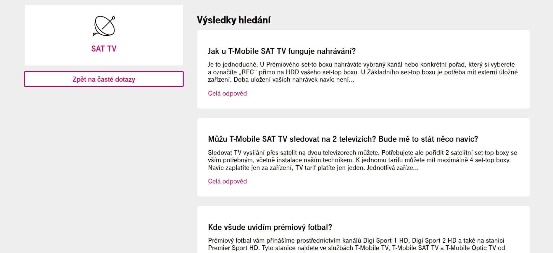 T-Mobile SAT TV zákaznická podpora