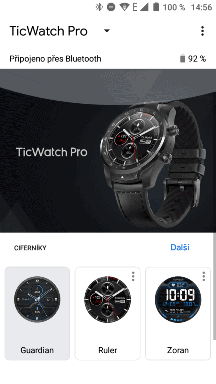 TicWatch pro 2020 hlavní stránka aplikace
