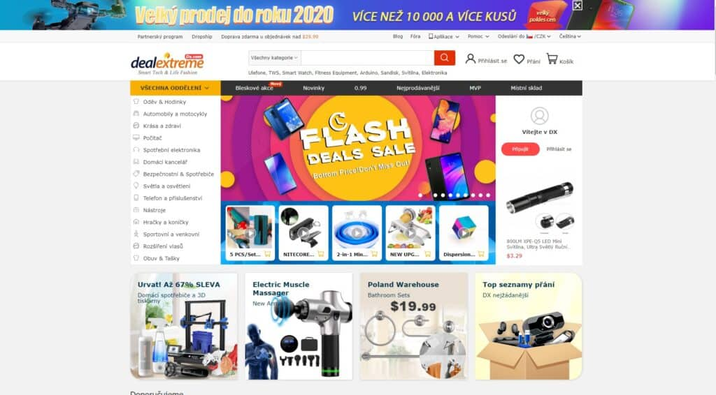 nabídka e-shopu dealextreme