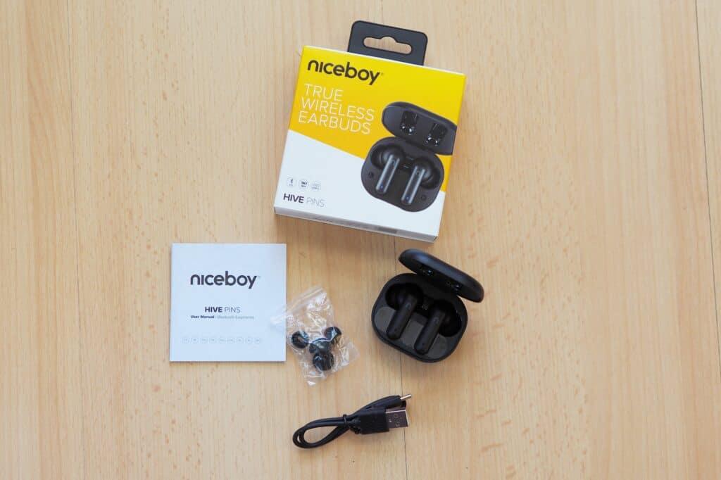 bezdrátová sluchátka Niceboy HIVE Pins – obsah balení