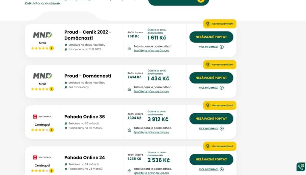 Kalkulátor.cz - nabídka tarifů elektřiny
