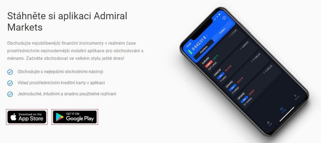 Obchodní aplikace Admiral Markets