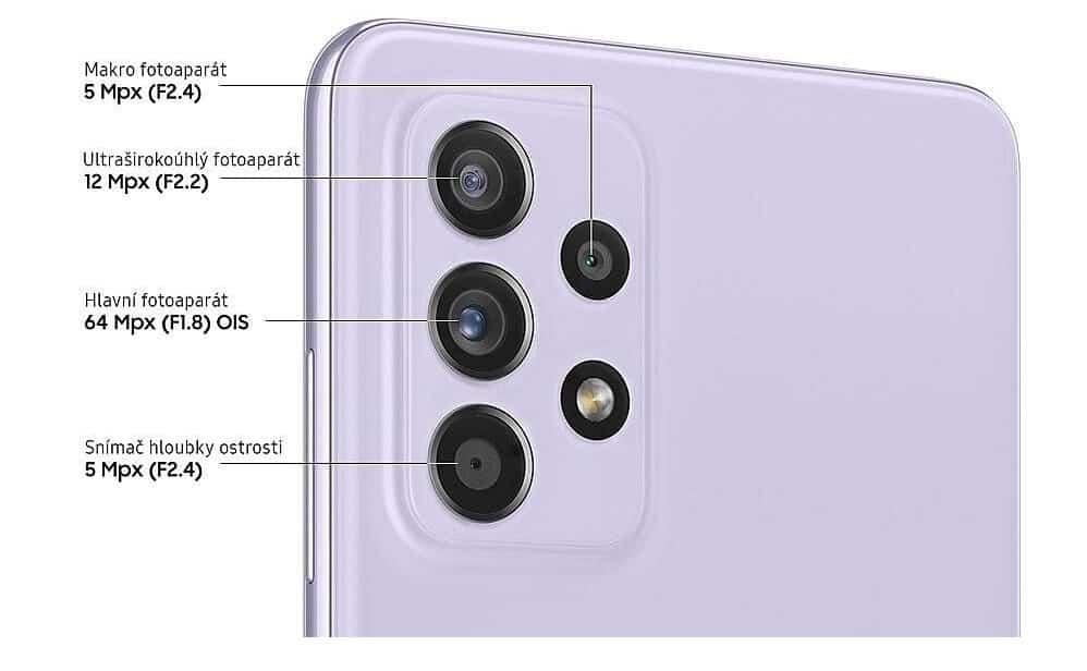 Fotoaparát a kamera u Samsungu Galaxy A52