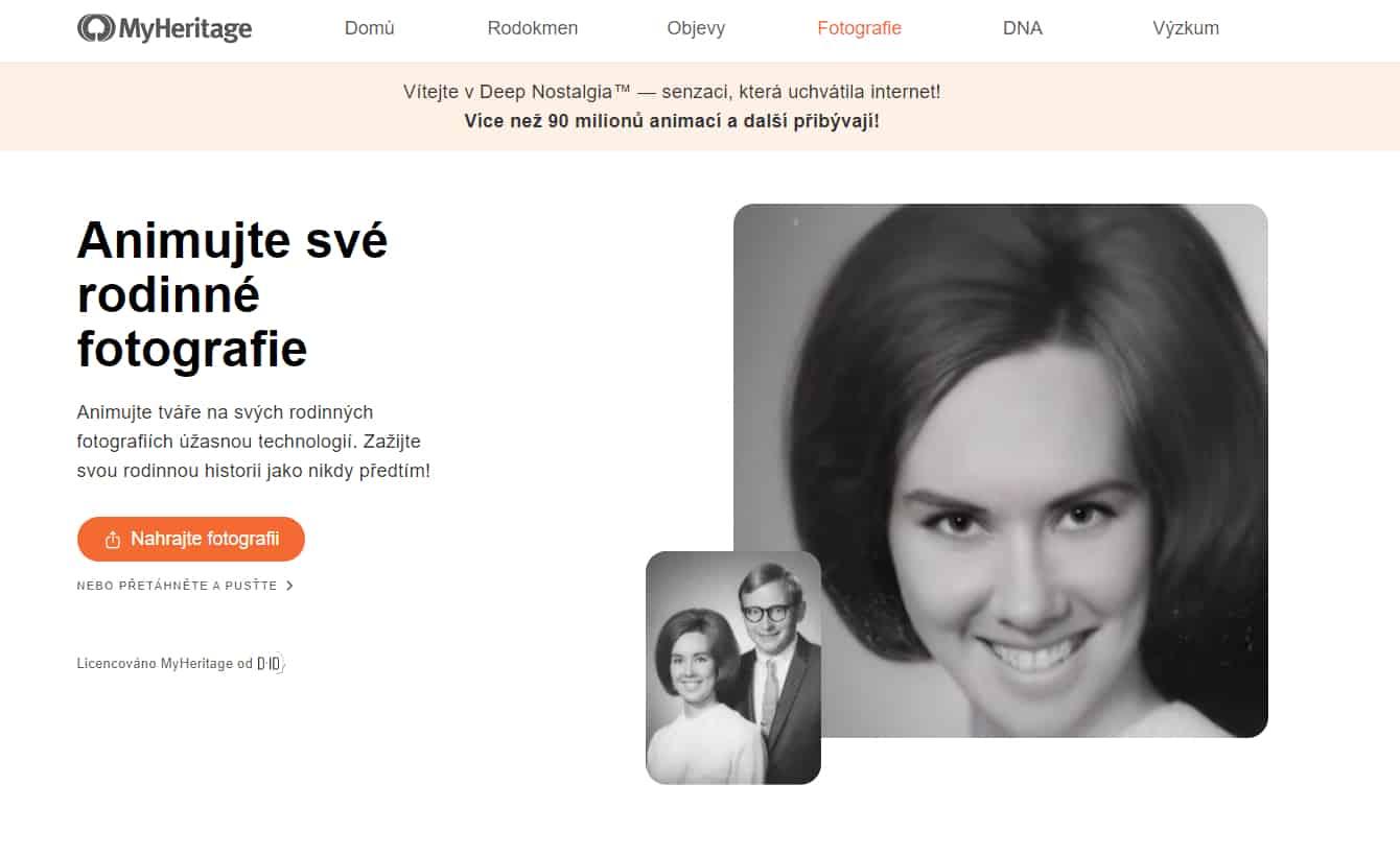 MyHeritage Deep Nostalgia recenze
