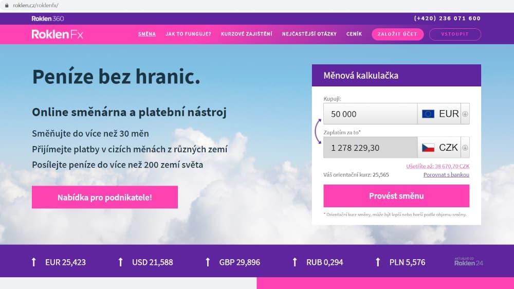 RoklenFx online směnárna homepage test