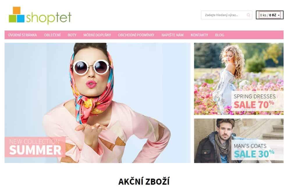 Shoptet - nabídka šablon pro e-shop