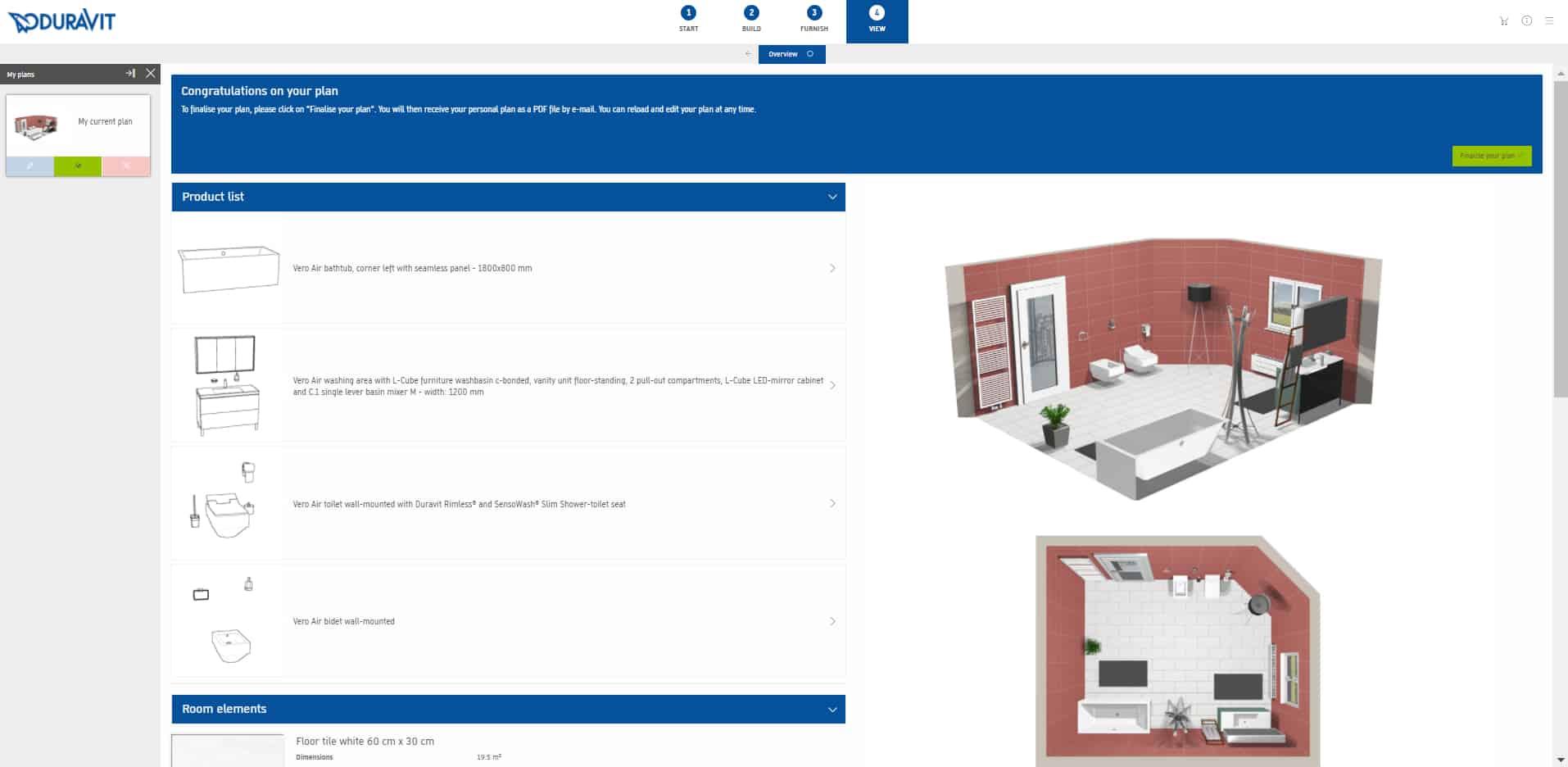 Duravit konfigurátor koupelny - hotové výstupy