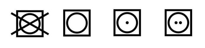 Symbol sušičky na prádle může nést mnoho dalších variant